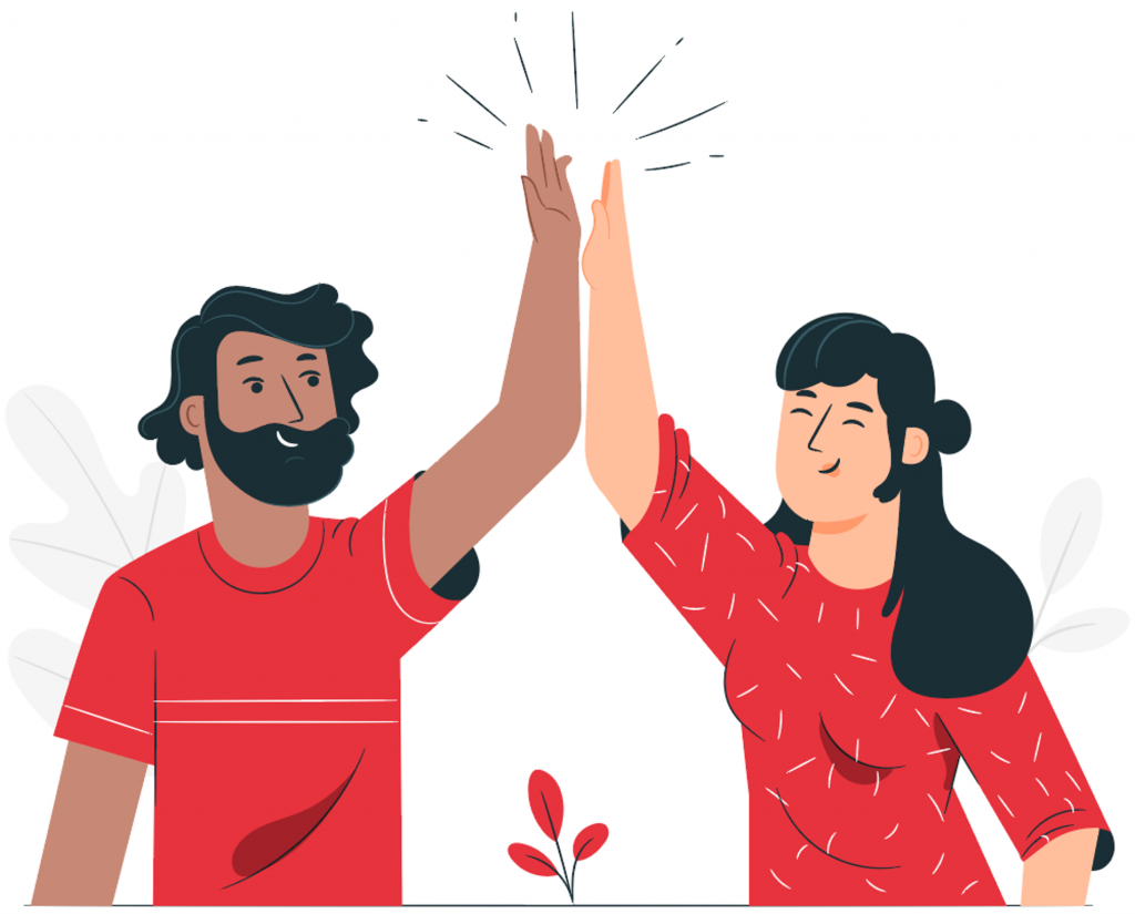 two people happily high fiving