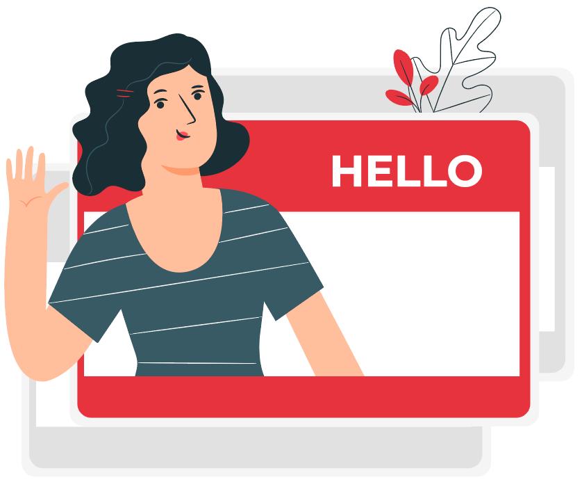 woman on hello name card waving