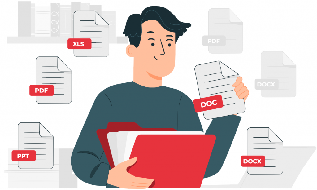 man sorting files and putting them in folder