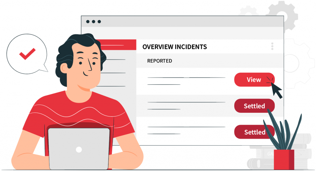 man on laptop looking at overview of incidents clicking view incident