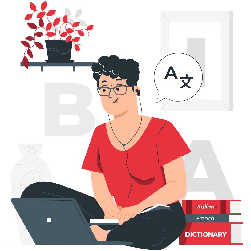 woman sitting cross-legged studying languages