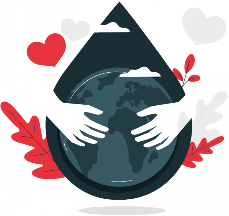 two hands hugging the world with hearts around