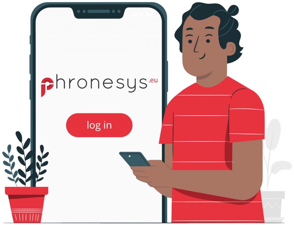 man holding phone login screen phronesys