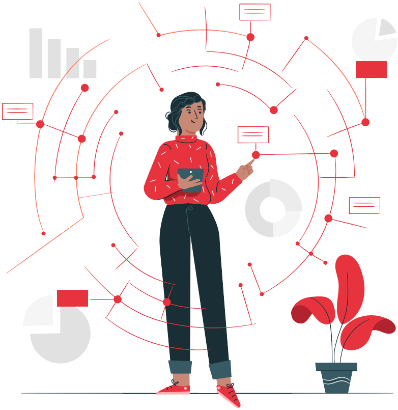 woman with tablet surrounded by lines with text balloons and graphs