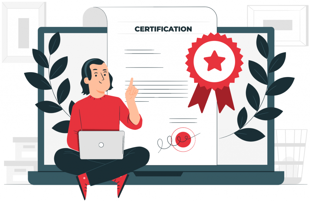 man with certificate on laptop