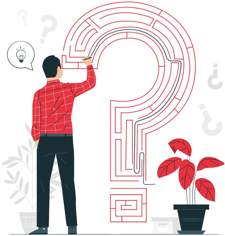 man solving big maze inside question mark