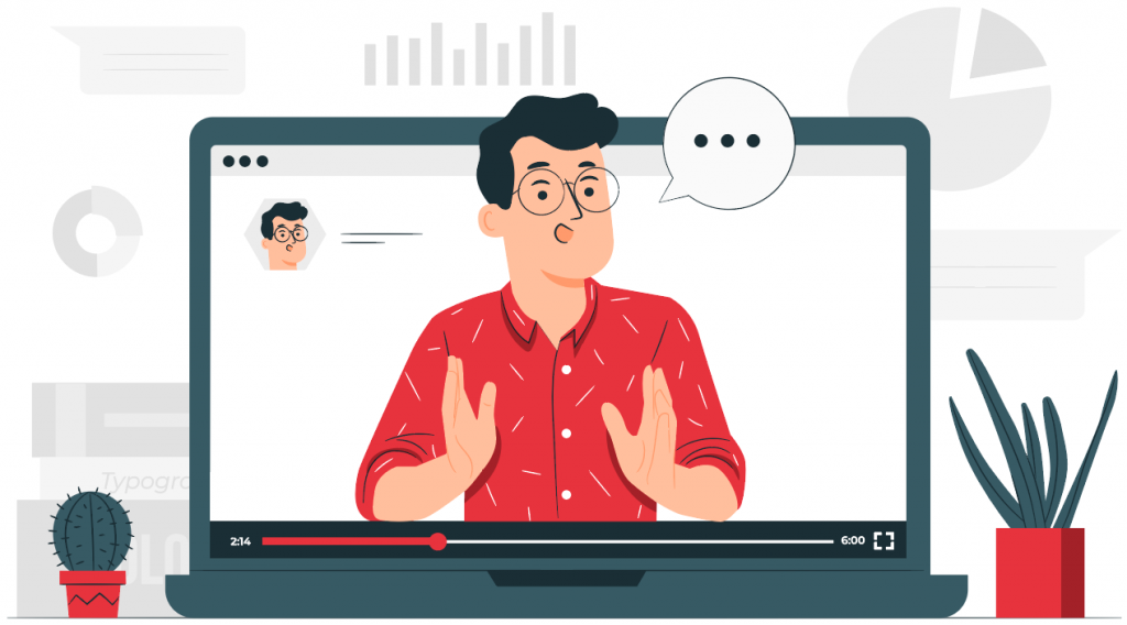 man in laptop speaking in video