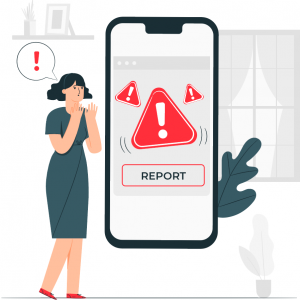 woman gasping in shock looking at phone with danger triangles and button report